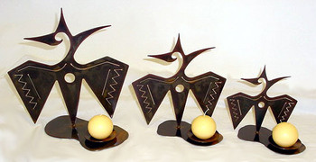 Set of 3 Choice Western Metal Candle Holders, 66 Designs
