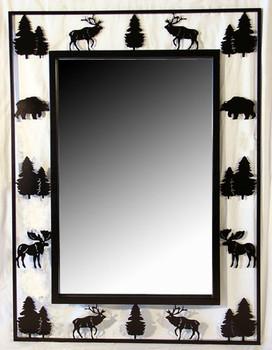 Alpine Wildlife Metal Wall Mirror