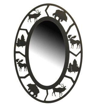 Oval Alpine Wildlife Metal Wall Mirror