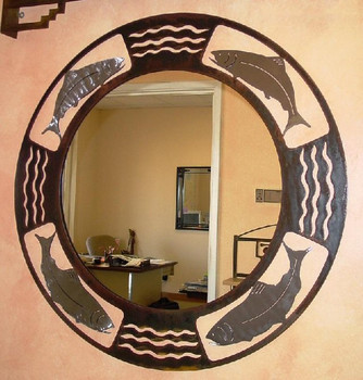 Trout Metal Wall Mirror