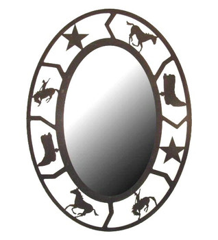 Oval Rodeo Metal Wall Mirror