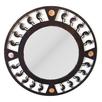 Rolling Kokopelli Metal Wall Mirror