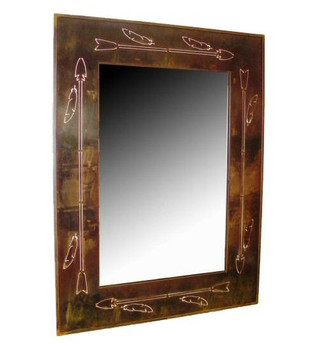 Tribal Lance Metal Wall Mirror
