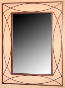 Double U Metal Wall Mirror with Copper Wrap