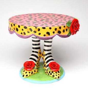 Leopard Print Heels Ceramic Cake Stand