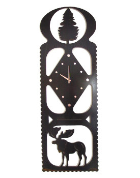 High Country Moose Metal Wall Clock
