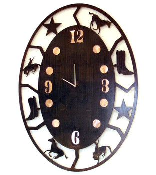 Oval Rodeo Metal Wall Clock