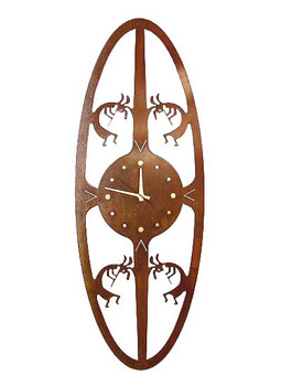 Kokopelli Oval Metal Wall Clock