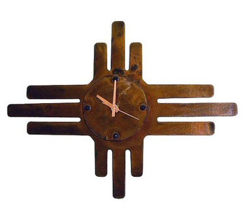3-D Zia Sun Metal Wall Clock