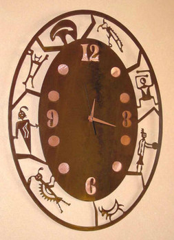 Oval Petroglyph Metal Wall Clock