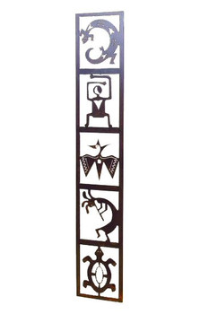 Large Petroglyph Totem Panel Metal Wall Art