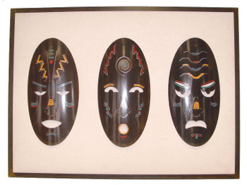 Tribal Mask Set Framed Metal Wall Art
