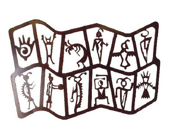 Double Tier Flat Petroglyph Metal Wall Art