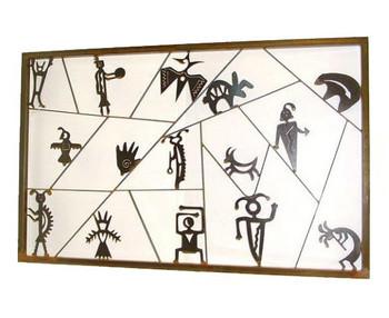 Large Framed Petroglyph Metal Wall Art