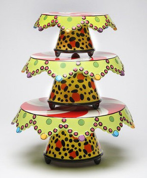 Dotted Ceramic Three Tier Cake Stand