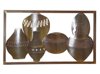 Large Framed Horizontal Pots Metal Wall Art