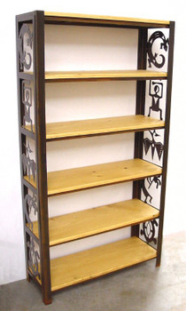 Petroglyph Bookshelf with Pine Shelves