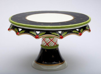 Holly Leaf and Berries Pedestal Ceramic Cake Stand