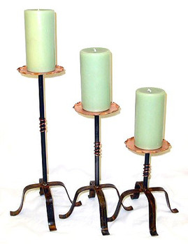 Copper Top Metal Candle Holders, Set of 3