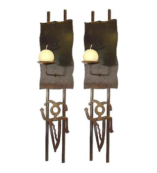 Pair of Petroglyph Wall Metal Candle Holder Sconces