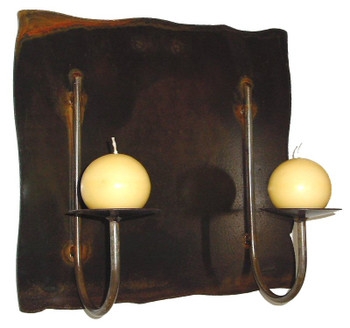 Rincon Panel Wall Metal Candle Holder for Two Candles
