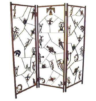 Three Panel Petroglyph Metal Screen