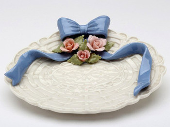 Blue Ribbon with Roses Dishes, Set of 2