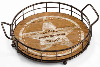 Personalized Family Ranch Metal and Wood Serving Trays, Set of 2