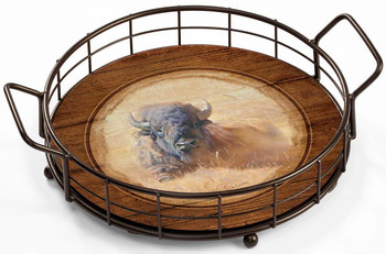 Resting Bull Bison Metal and Wood Serving Trays, Set of 2