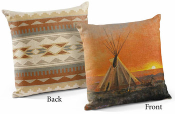 "18"" Medicine Man Lodge Teepee Decorative Square Throw Pillows, Set of 4"