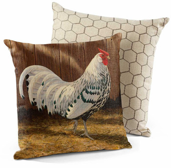 "18"" Hamburg Silver Spangled Rooster Bird Decorative Square Throw Pillows, Set of 4"