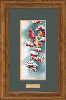 Scarlet and Snow Cardinal Birds Limited Edition Framed Art Print Wall Art