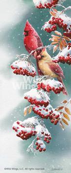 Scarlet and Snow Cardinal Birds Artist Proof Limited Edition Framed Art Print Wall Art