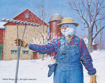 Winter Snowman Scarecrow Limited Edition Art Print Wall Art