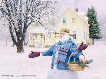 Snowman Gathering Pine Cones Limited Edition Art Print Wall Art