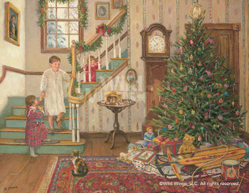 A Christmas Morning Limited Edition Wrapped Canvas Giclee Art Print Wall Art