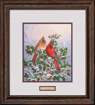 Winter's Splendor Cardinal Birds Sitting in Holly Framed Art Print Wall Art