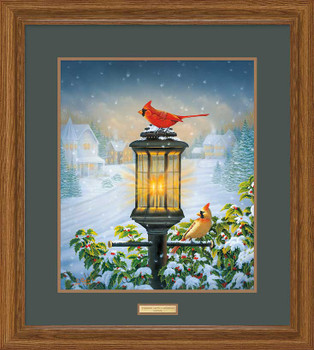 Evening Glow Cardinal Birds Limited Edition Framed Art Print Wall Art