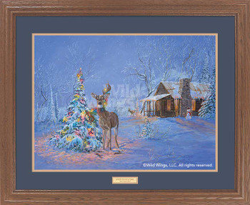 Oops! Once Upon a Time Deer Caught in Christmas Tree Framed Art Print Wall Art