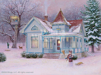 Winter Fortress with Snowman Artist Proof Limited Edition Art Print Wall Art