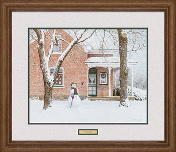 The Greeting Snowman Limited Edition Framed Art Print Wall Art
