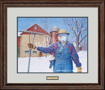 Winter Snowman Scarecrow Limited Edition Framed Art Print Wall Art