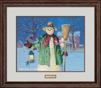 The Lantern's Glow Snowman Limited Edition Framed Art Print Wall Art