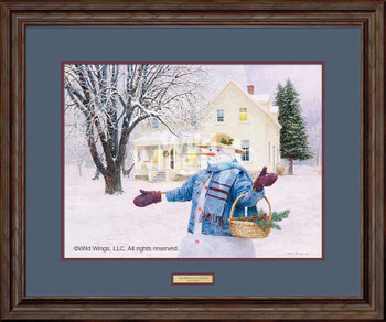 Snowman Gathering Pine Cones Limited Edition Framed Art Print Wall Art