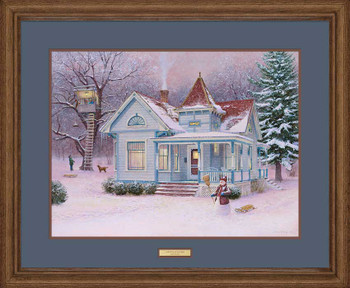 Winter Fortress with Snowman Limited Edition Framed Art Print Wall Art