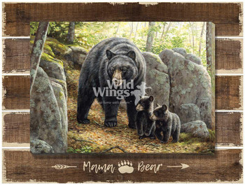 Mama Bear Black Bear Family Wrapped Canvas Giclee Art Print Wall Art on Wood Pallet