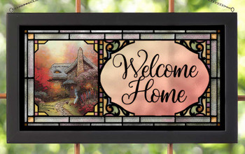 Welcome Home Stained Glass Wall Art