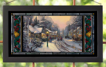 Village Christmas Stained Glass Wall Art