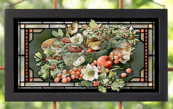 Holiday Abundance Arrangement Stained Glass Wall Art