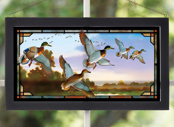 Evening Flight Mallard Ducks Stained Glass Wall Art